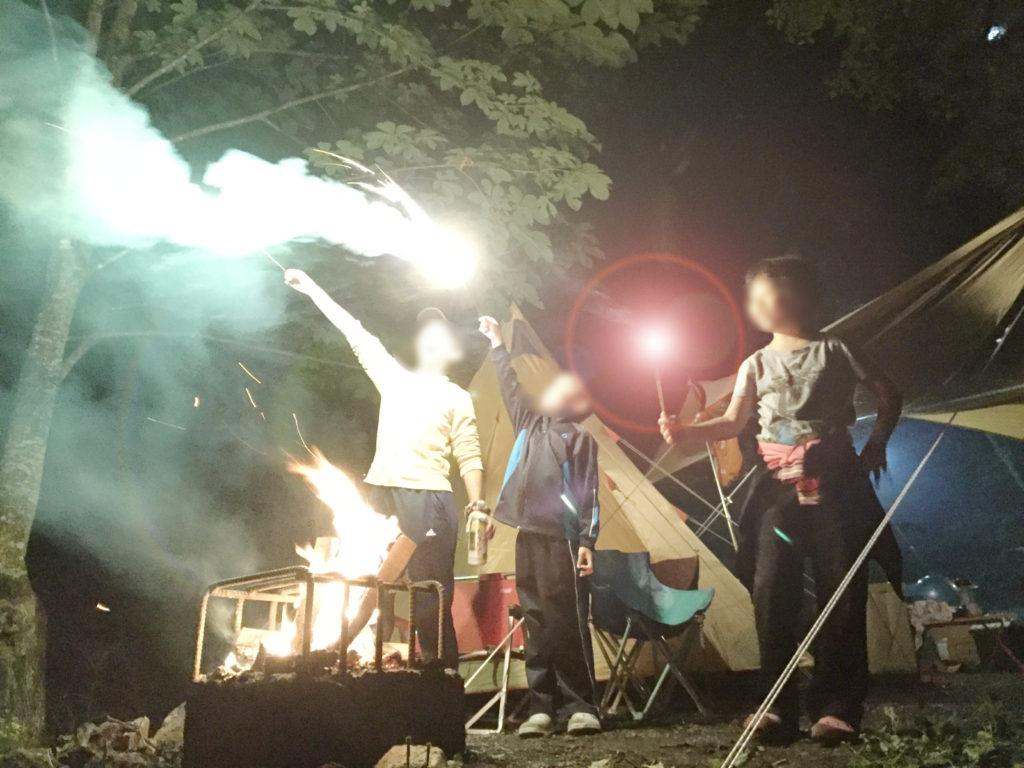 平湯キャンプの花火